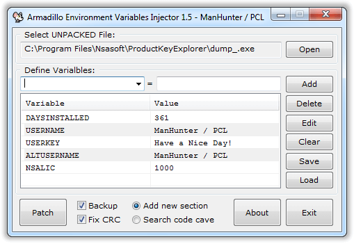 Скриншот программы Armadillo Environment Variables Injector
