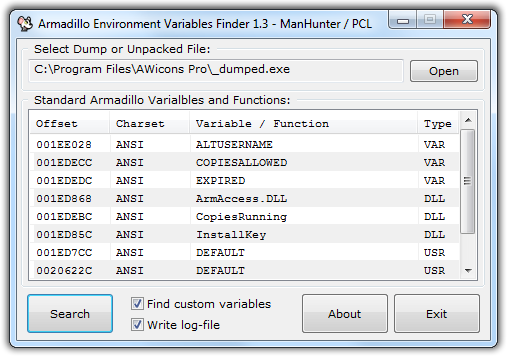 Скриншот программы Armadillo Environment Variables Finder